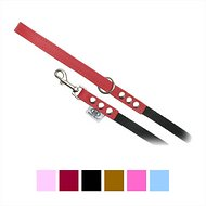 Buddy Belts Leather & Nylon Dog Leash, Red, Small