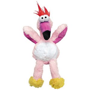 KONG Wild Knots Flamingo Dog Toy, Small/Medium; Soft and cuddly on the outside and made of rope on the inside, a Wild Knot bird will become your pup's favorite shaker toy. And it squeaks! Minimal stuffing means lots of floppy fun and less mess as this bird becomes well-loved. Choose from a number of birds, or get a few to make your own Wild Knot family.