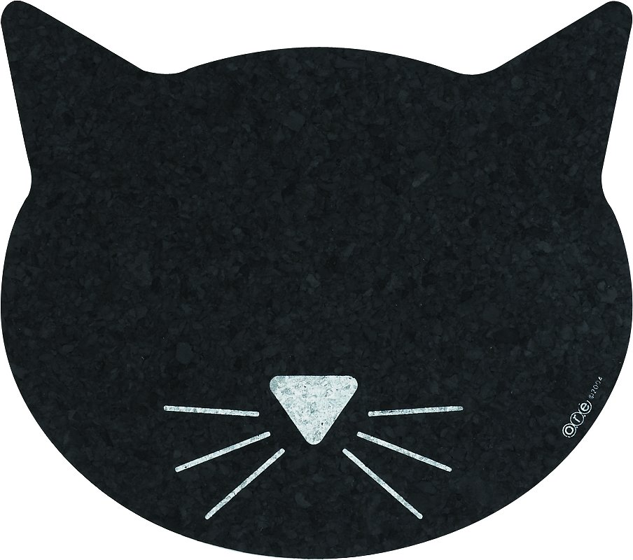 Ore Pet Recycled Rubber Black Cat Face Placemat Chewy Com