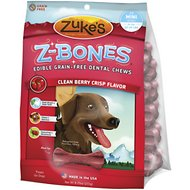 Zuke's Z-Bones Clean Berry Crisp Dental  Dog Treats, Mini, 18 count