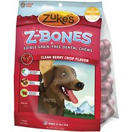 Zuke's Z-Bones Clean Berry Crisp Dental  Dog Treats, Regular, 8 count