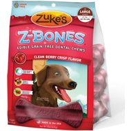 Zuke's Z-Bones Clean Berry Crisp Dental  Dog Treats, Large, 6 count