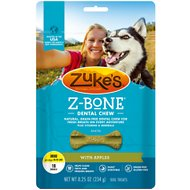 Zuke's Z-Bones Clean Apple Crisp Dental Dog Treats, Mini, 18 count