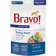 Bravo! Bonus Bites Turkey Heart Freeze-Dried Dog Treats, 2-oz bag