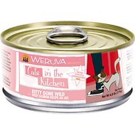 Weruva Cats in the Kitchen Kitty Gone Wild Salmon Au Jus Grain-Free Canned Cat Food, 6-oz, case of 24