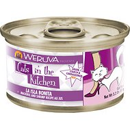 Weruva Cats in the Kitchen La Isla Bonita Mackerel & Shrimp Recipe Au Jus Grain-Free Canned Cat Food, 3.2-oz, case of 24
