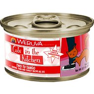 Weruva Cats in the Kitchen Two Tu Tango Sardine, Tuna & Turkey Recipe Au Jus Canned Cat Food, 3.2-oz, case of 24