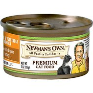 Newman's Own Organics Turkey & Vegetable Formula Canned Cat Food, 3-oz, case of 24