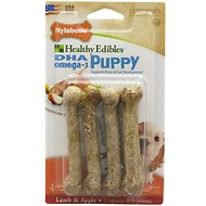 Nylabone Healthy Edibles Longer Lasting Puppy Lamb & Apple Flavor Dog Bone Treats, Petite bone chews, 4 count