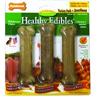 Nylabone Healthy Edibles Longer Lasting Triple Pack Assorted Flavors Dog Bone Treats, Small