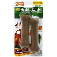 Nylabone Healthy Edibles Longer Lasting Twin Pack Chicken Flavor Dog Bone Treats, X-Small