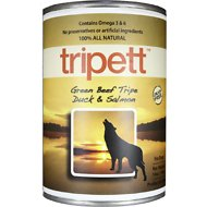 PetKind Tripett Green Beef Tripe, Duck & Salmon Canned Dog Food, 13-oz, case of 12
