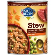 Nature's Recipe Senior Lamb & Rice Recipe Cuts in Gravy Stew Canned Dog Food, 13.2-oz, case of 12