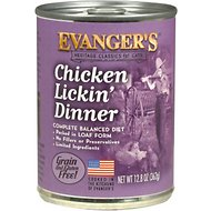 Evanger's Classic Recipes Chicken Lickin' Dinner Grain-Free Canned Cat Food, 12.8-oz, case of 12