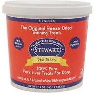 Stewart Pro-Treat Pork Liver Freeze-Dried Raw Dog Treats, 12-oz tub