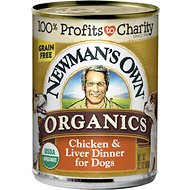 Newman's Own Organics Grain-Free 95% Chicken & Liver Dinner Canned Dog Food, 12.7-oz, case of 12