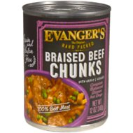 Evanger's Grain-Free Hand Packed Braised Beef Chunks with Gravy Canned Dog Food, 12-oz, case of 12