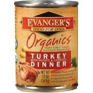 Evanger's Organics Turkey with Potato & Carrots Dinner Grain-Free Canned Dog Food, 13-oz, case of 12