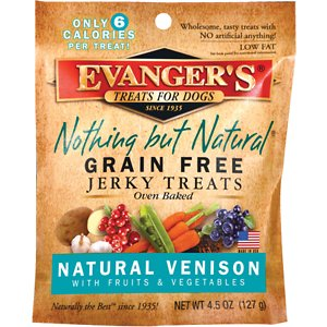 Evanger's Nothing But Natural Venison with Fruits & Vegetables Grain-Free Jerky Dog Treats, 4.5-oz bag