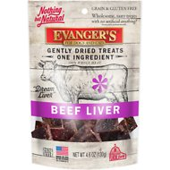 Evanger's Nothing but Natural Beef Liver Gently Dried Dog & Cat Treats, 4.6-oz bag
