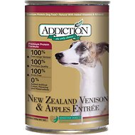 Addiction New Zealand Venison & Apples Entree Grain-Free Canned Dog Food, 13.8-oz, case of 12
