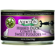 Addiction Grain-Free Herbed Duck Confit & Sweet Potatoes Entree Canned Cat Food, 5.5-oz, case of 24