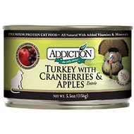 Addiction Grain-Free Turkey with Cranberries & Apples Entree Canned Cat Food, 5.5-oz, case of 24