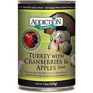 Addiction Grain-Free Turkey with Cranberries & Apples Entree Canned Dog Food, 13-oz, case of 12