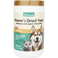 NaturVet Brewer's Dried Yeast Formula with Garlic Dog & Cat Powder Supplement, 1-lb
