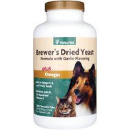 NaturVet Brewer's Yeast Formula with Omegas Dog & Cat Tablets, 1000 count