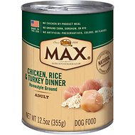 Nutro Max Adult Chicken, Rice & Turkey Dinner Canned Dog Food, 12.5-oz, case of 12