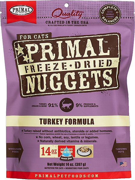 Primal Turkey Formula Nuggets Grain Free Raw Freeze Dried Cat Food