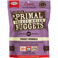 Primal Turkey Formula Nuggets Grain-Free Raw Freeze-Dried Cat Food, 14-oz bag