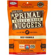 Primal Beef Formula Nuggets Grain-Free Raw Freeze-Dried Dog Food, 5.5-oz bag