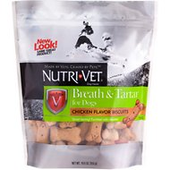 Nutri-Vet Breath & Tartar Chicken Flavor Biscuits Dog Treats, 19.5-oz bag