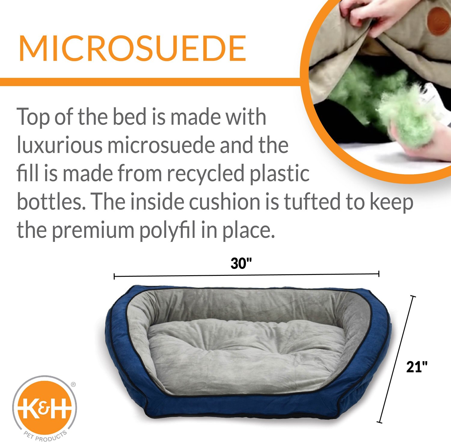 K H Pet Products Bolster Couch Pet Bed Blue Grey Small