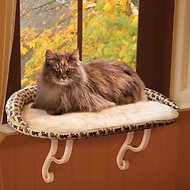 K&H Pet Products Deluxe Kitty Sill with Bolster, Kitty Print