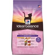 Hill's Ideal Balance Natural Chicken & Brown Rice Recipe Mature Adult Dry Cat Food, 15-lb bag