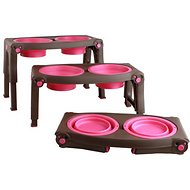 Popware for Pets Adjustable Height Elevated Pet Bowls, Brown/Pink