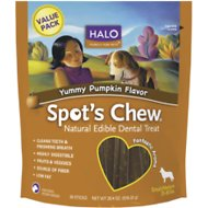 Halo Spot's Chew Pumpkin Flavor Natural Edible Dental Dog Treats, Small/Med, 20.4-oz bag