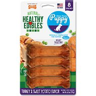 Nylabone Healthy Edibles Puppy Turkey & Sweet Potato Flavor Dog Bone Treats, Petite bone chews, 8 count