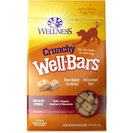 Wellness Crunchy WellBars Yogurt, Apples & Bananas Baked Grain-Free Dog Treats, 45-oz bag