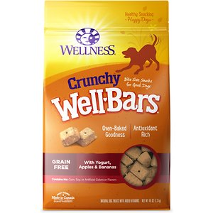 Wellness Crunchy WellBars Yogurt, Apples & Bananas Baked Grain-Free Dog Treats, 45-oz bag; Wellness Crunchy WellBars Yogurt, Apples & Bananas Baked Dog Treats are tasty, oven baked, bite-size nuggets made with wholesome ingredients your dog will love. The crunchy biscuits are also packed with vitamins and antioxidants to help support your dog's health and balanced diet. They're a delicious grain-free treat that's good as a dessert after meals or any time.