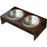 PetFusion New Zealand Pine Elevated Dog & Cat Bowls, Short