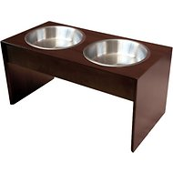 PetFusion New Zealand Pine Elevated Dog & Cat Bowls, Tall