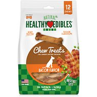 Nylabone Healthy Edibles Longer Lasting  Bacon Flavor Pouch Dog Bone Treats, 12 count