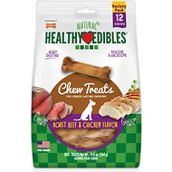 Nylabone Healthy Edibles Longer Lasting Savory Chicken & Roast Beef Flavors Variety Pouch Dog Bone Treats, 12 count
