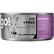 Go! Fit + Free Grain-Free Chicken, Turkey & Duck Pate Recipe Canned Cat Food, 5.5-oz, case of 24
