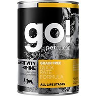Go! Sensitivity + Shine Grain-Free Duck Pate Formula Canned Dog Food, 13.2-oz, case of 12