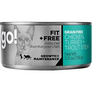Go! Fit + Free Grain-Free Chicken, Turkey & Trout Stew Canned Cat Food, 5.5-oz, case of 24